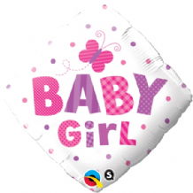 "Baby Girl Butterfly Foil Balloon (18"") 1pc"